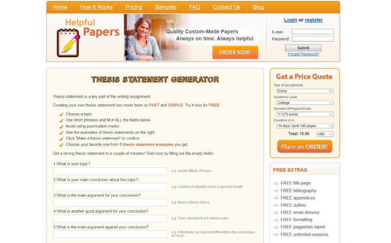 Free Thesis Statement Generator - HelpfulPapers.com