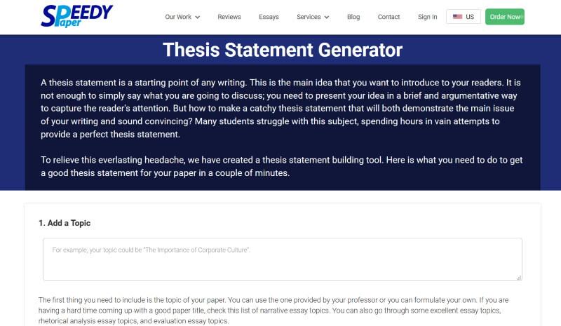 Free Thesis Statement Generator - SpeedyPaper.com